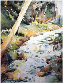 Malerei, Landschaft, Wald, Bach