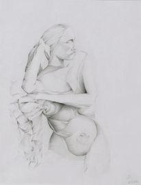 Zeichnung, Abstrakt, Grafik, Weiblich