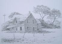 Monochrom, Landschaft, Fragil, Zeichnung