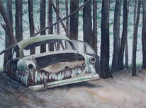 Auto, Wrack, Schrott, Malerei