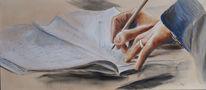Zeichnung, Tagebuch, Hände, Malerei