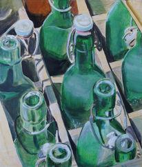 Flasche, Grün, Retro, Malerei