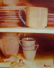 Schrank, Kaffee, Teller, Monochrom