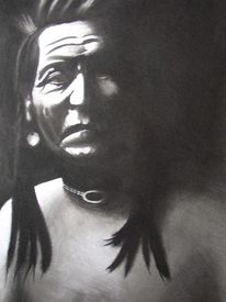 Indianer, Zeichnungen, Portrait