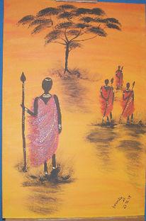 Massai, Landschaft, Afrika, Malerei