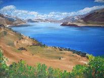Zeichnung, Landschaft, Zeichnungen, Bergsee