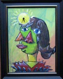 Picasso, Uhr, Gesicht, Malerei