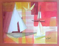 Malerei, Segelboot, Aquarellmalerei