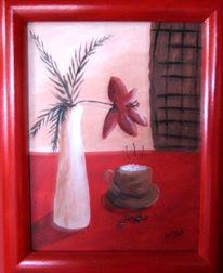 Stillleben, Rot, Kaffee, Malerei