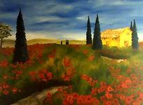 Landschaft, Stimmung, Toskana, Mohn