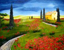 Mohn, Rot, Stimmung, Toskana