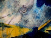 Frau, Spiegelung, Malerei, Surreal