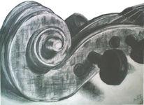 Zeichnung, Violine, Bleistiftzeichnung, Stillleben