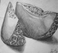 Obst, Bleistiftzeichnung, Stillleben, Melone