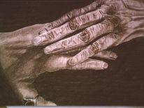 Kohlezeichnung, Hände, Zeichnung, Zeichnungen