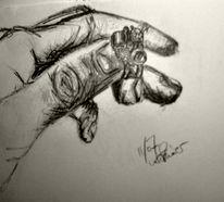 Bleistiftzeichnung, Kohlezeichnung, Skizze, Hand