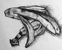 Zeichnung, Banane, Obst, Skizze