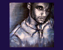 Portrait, Blau, Schwarz, Mann