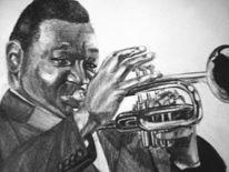 Zeichnung, Bleistiftzeichnung, Mann, Trompetenspieler