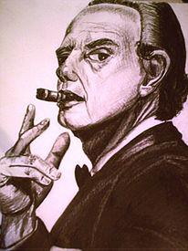 Mann, Zeichnung, Schwarz, Zigarre
