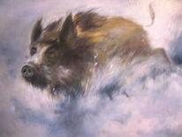 Wildschwein, Keiler, Haarwild, Malerei