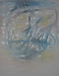 Blau, Gelb, Malerei, Abstrakt