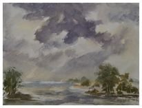 Landschaft, Aquarellmalerei, Gemälde, Malerei