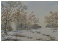 Landschaft, Landschaftsmalerei, Aquarellmalerei, Malerei
