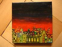 Nacht, Ölmalerei, Stadt, Licht