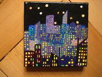 Licht, Ölmalerei, Nacht, Stadt