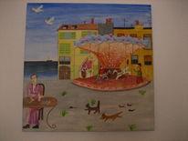 Temperamalerei, Naiv, Marseille, Warten
