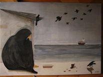 Temperamalerei, Meer, Naiv, Wüste