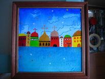 Stadt, Temperamalerei, Farben, Naiv