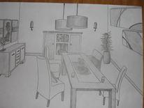 Skizze, Wohnzimmer, Esszimmer, Grafik