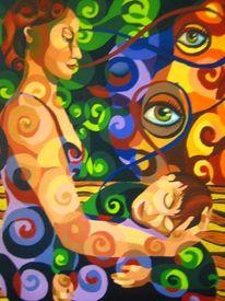 Malerei, Abstrakt, Frau, Surreal