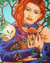 Tiere, Illustration, Frau, Buntstiftzeichnung