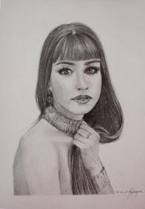 Schönheit, Portrait, Frau, Zeichnung