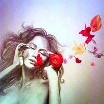 Frau, Portrait, Zeichnung, Gesicht