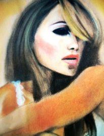 Zeichnung, Pastellmalerei, Frau, Portrait