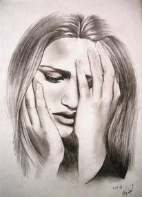 Frau, Portrait, Gesicht, Zeichnung