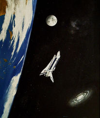 Mond, Stern, Rakete, Astro