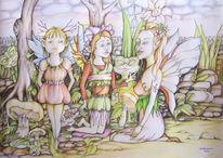 Skizze, Elfen, Fantasie, Zeichnung