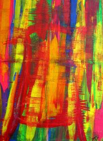 Haus, Menschen, Malerei, Abstrakt