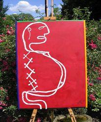 Malerei, Frau, Mann, Kinder