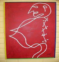 Malen, Frau, Malerei, Abstrakt