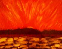 Meer, Insel, Vulkan, Feuer