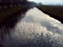 Landschaft, Fluss, Baum, Wolken