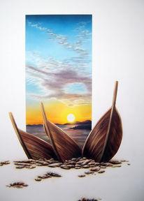 Acrylmalerei, Meer, Landschaft, Ruhe