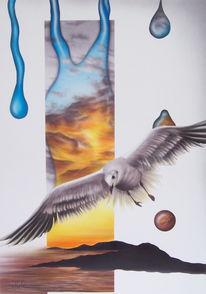 Freiheit, Vogel, Acrylmalerei, Möwe