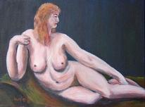 Frau, Akt, Acrylmalerei, Malerei